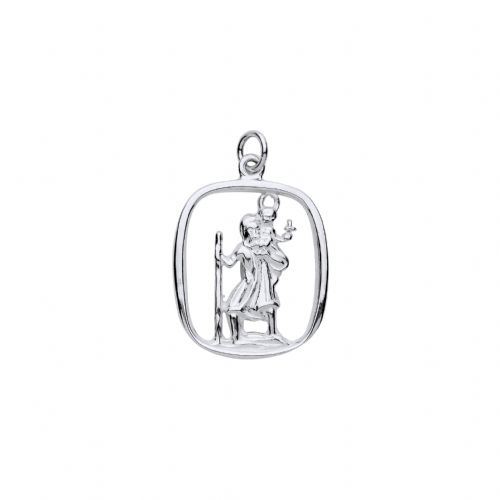 Sterling Silver cushion Shaped St. Christopher Including Chain BU8056